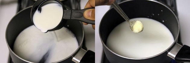 milk, water and ghee in a saucepan