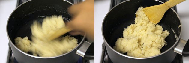 sooji, milk mixture becomes a dough