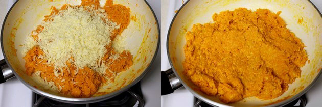 adding khoya to carrot burfi mixture