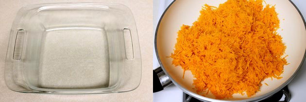 greased tray and grated carrot in a pan