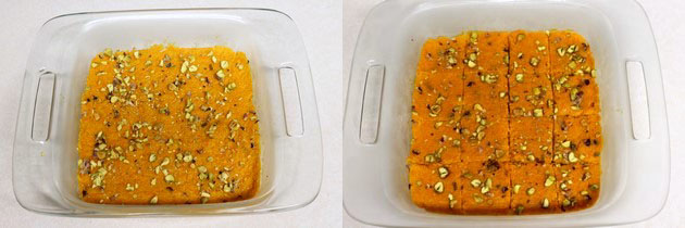 spreading the burfi mixture in a pan