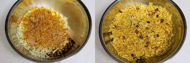 adding and mixing spice mixture with poha