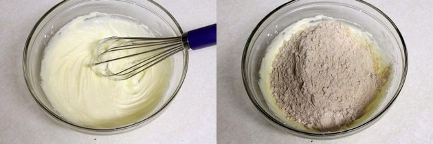 adding flour mixture to ghee-sugar