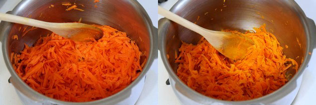 cooking grated carrot in a pressure cooker