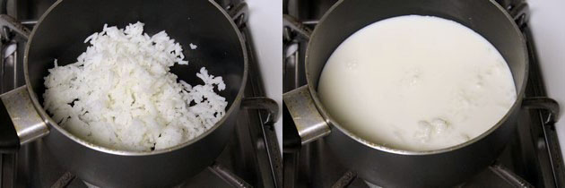 cooked rice and milk in a pan