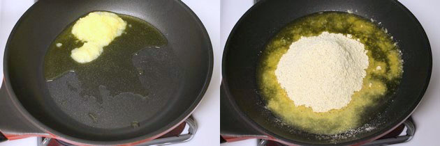 adding besan into the ghee