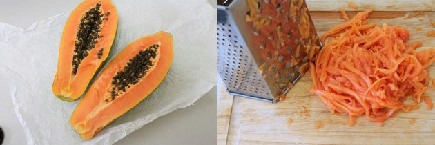 grating ripe papaya