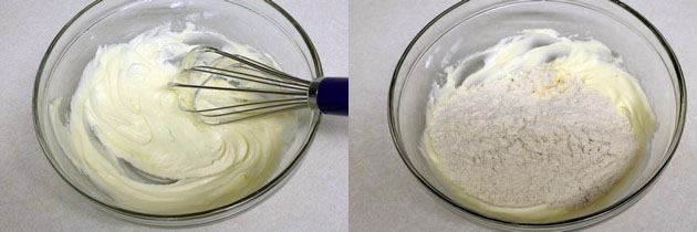 beating the ghee and sugar / adding wheat flour