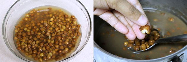 Pressure cooking kala chana