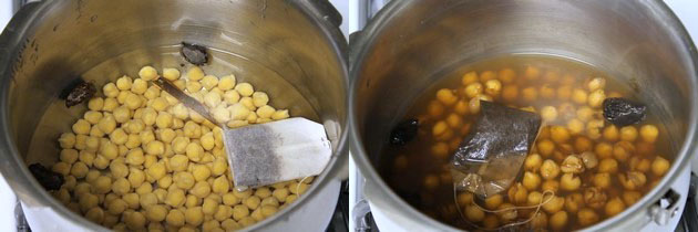 Pressure cooking the chana or white chickpeas or chole
