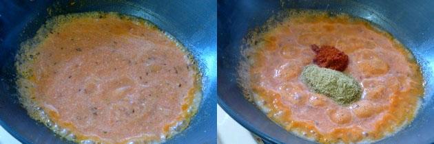 adding tomato puree and spices