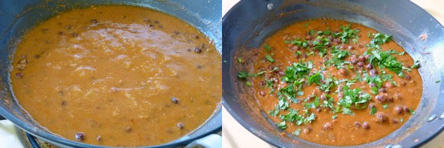 simmering gravy and garnishing with cilantro