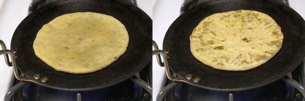 cooking paratha on hot tawa