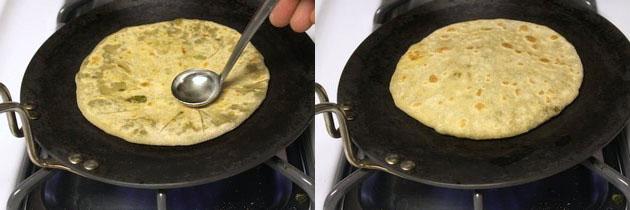 applying oil on paratha