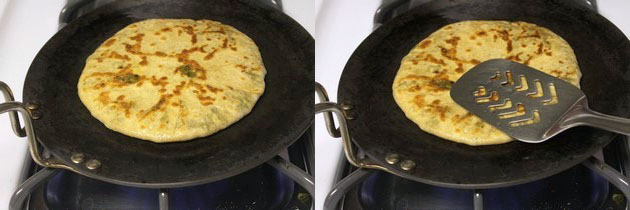 cooked paratha with golden spots