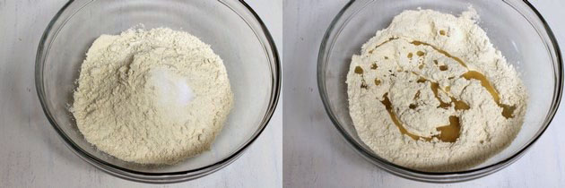 adding salt and oil in the wheat flour