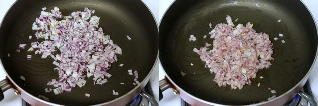cooking chopped onions