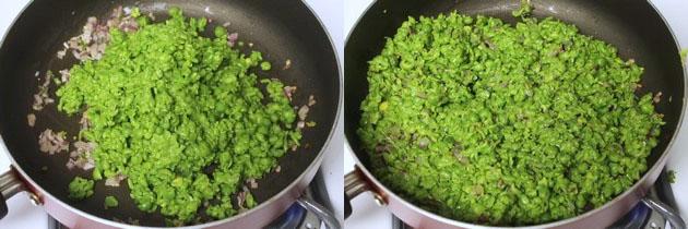 adding crushed green peas
