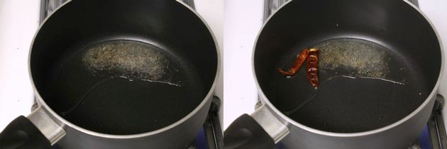tempering of mustard seeds and dried red chilies.