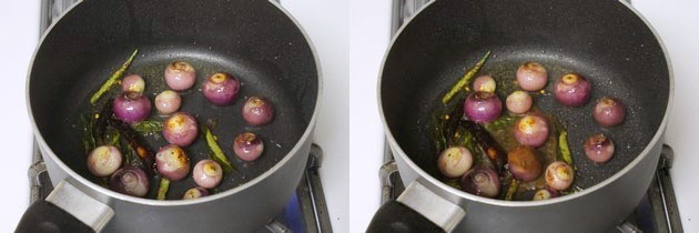 cooking onions and adding turmeric paste