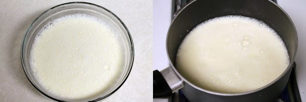 heating yogurt mixture in a pan