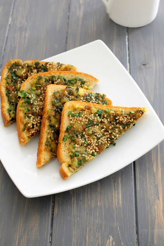 Spinach toast recipe how to make spinach toast palak toast forumfinder Image collections
