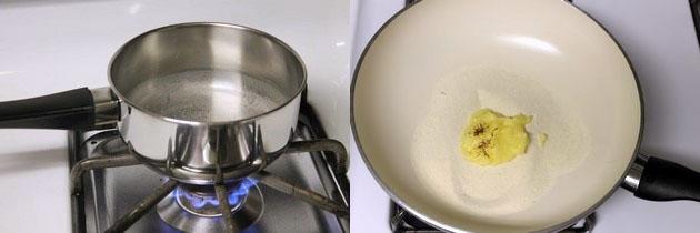 water is simmering and ghee, sooji in a pan