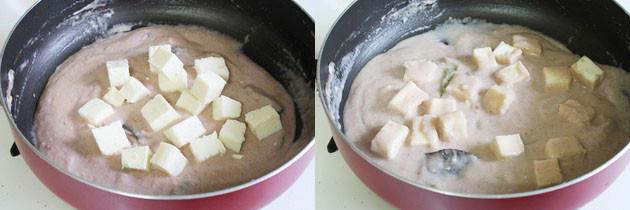 mix paneer to make mughlai shahi paneer in white gravy