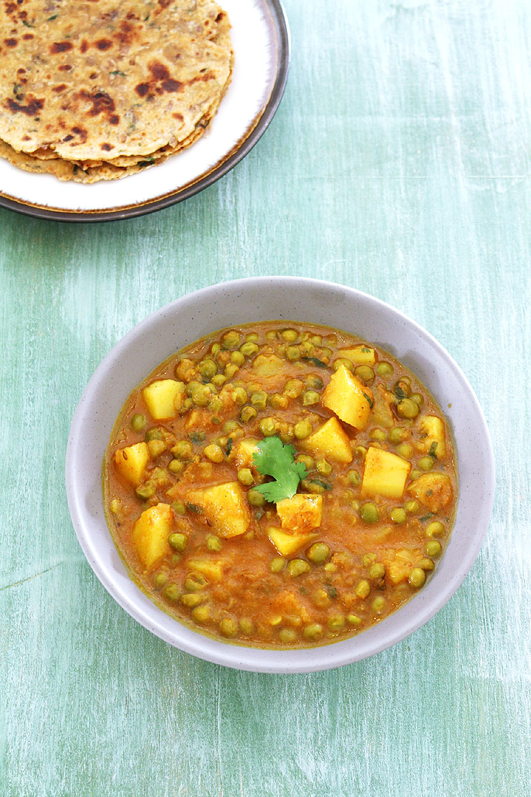 aloo matar made in pressure cooker