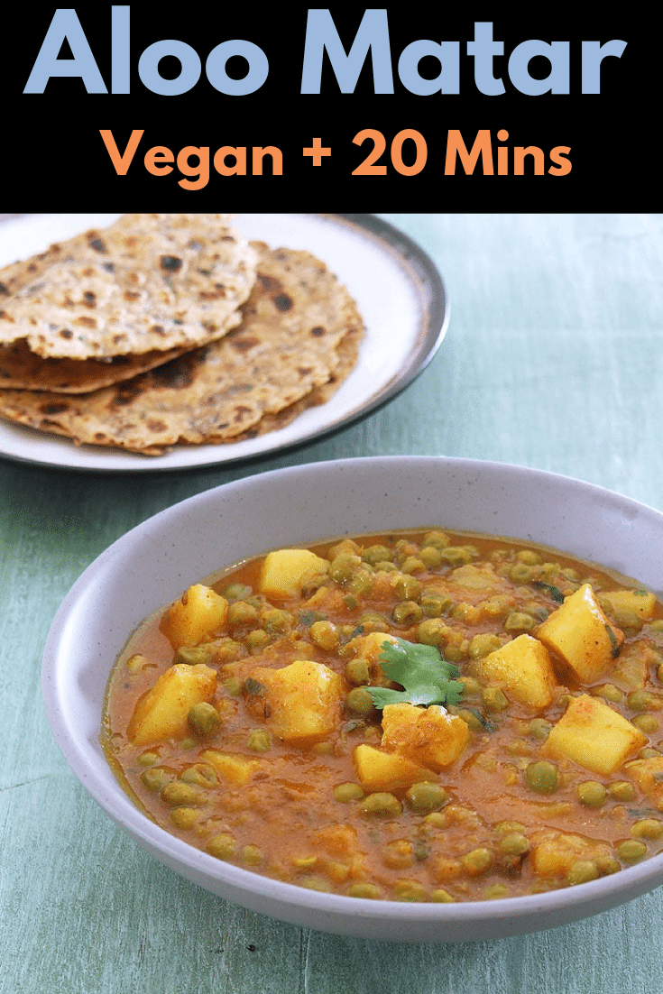 Check out this easy punjabi style aloo matar gravy recipe. This vegan curry is made in pressure cooker on stove top. This potatoes and peas curry goes well with roti or paratha. #indianfood #vegan #curry #potatoes #lunch