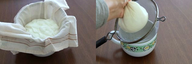 adding yogurt in the handkerchief
