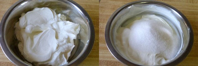 adding powdered sugar in greek yogurt