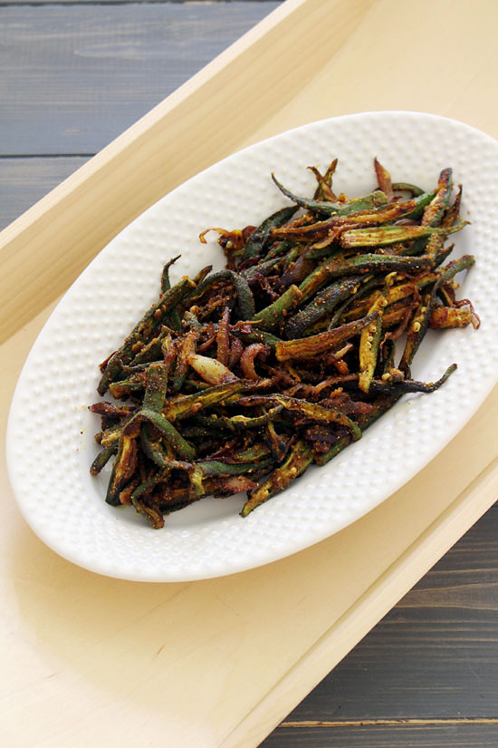 Bhindi fry recipe - shallow fried crispy okra are sauteed with onion and spices.