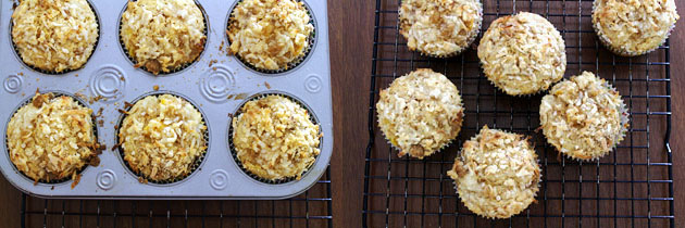 Eggless mango coconut muffins recipe with streusel topping