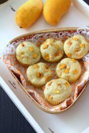 Eggless mango muffins recipe | How to make mango muffins