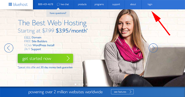 log in to bluehost cpanel