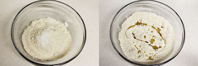 wheat flour, salt and oil in a bowl