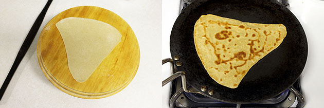 frying triangular paratha