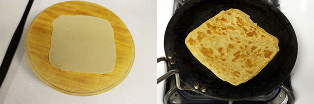 rolling and frying square paratha