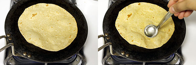 applying oil and frying paratha