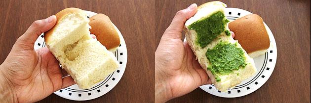 applying cilantro chutney on slit pav