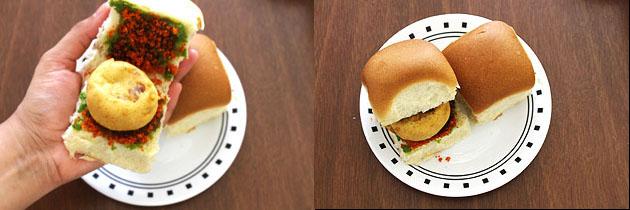 place batata vada into the bun