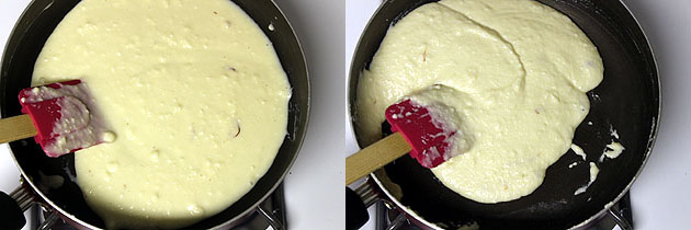cooking paneer and condensed milk mixture