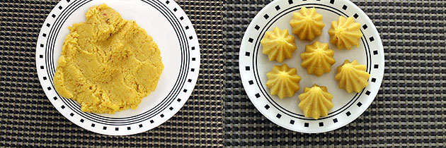 Modak peda recipe (How to make modak peda), Mawa kesar modak