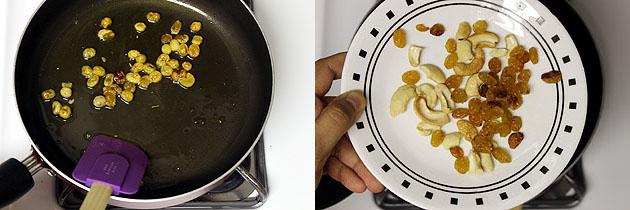 frying raisins in the ghee.