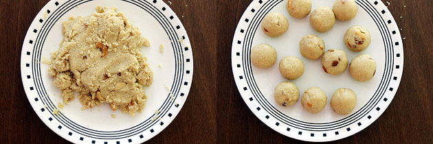 mixing everything and shaping into ladoo