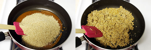 adding and mixing ground sesame seeds