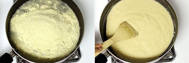 adding and mixing cashew powder