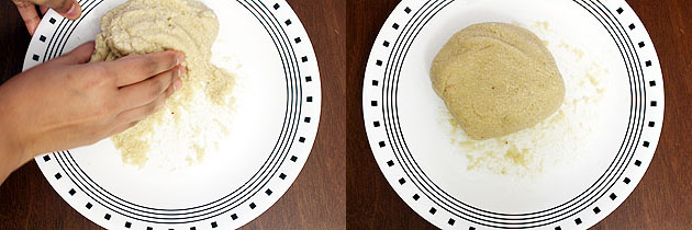 kneading kaju katli dough
