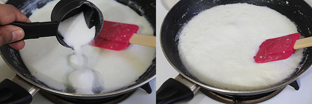 adding sugar to the reduced milk